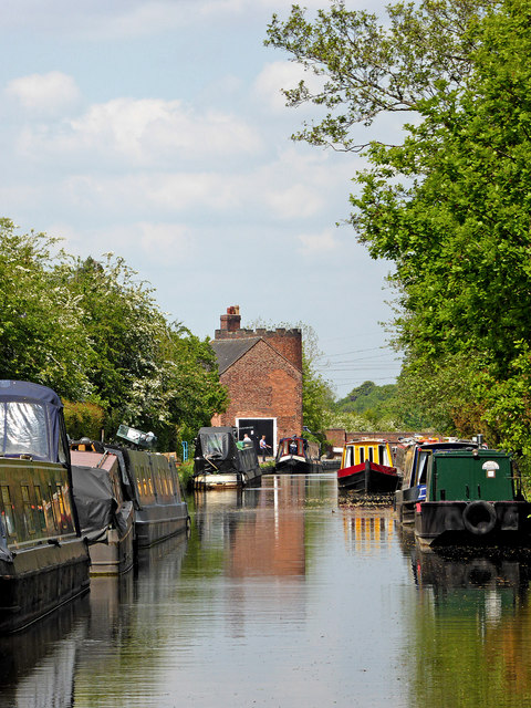 Canal approaching Gailey Lock in Staffordshire