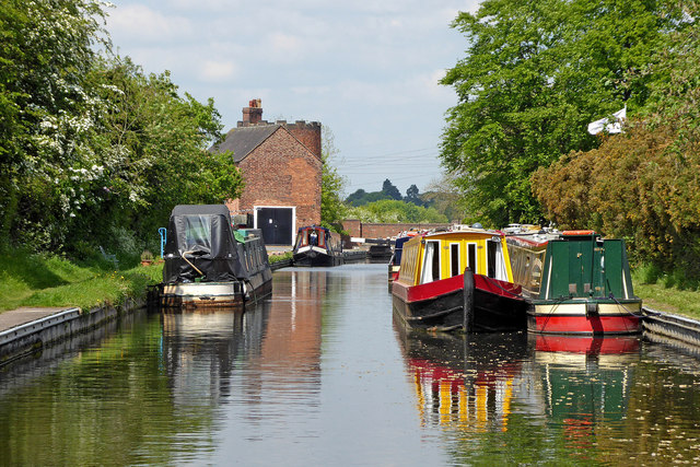 Moored narrowboats at Gailey in Staffordshire