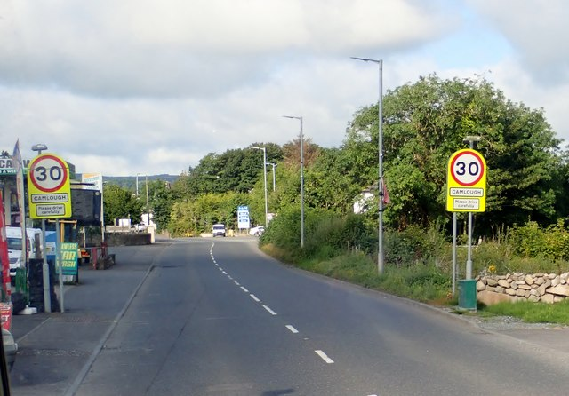 Entering the village of Camlough from the direction of Newry on the A25