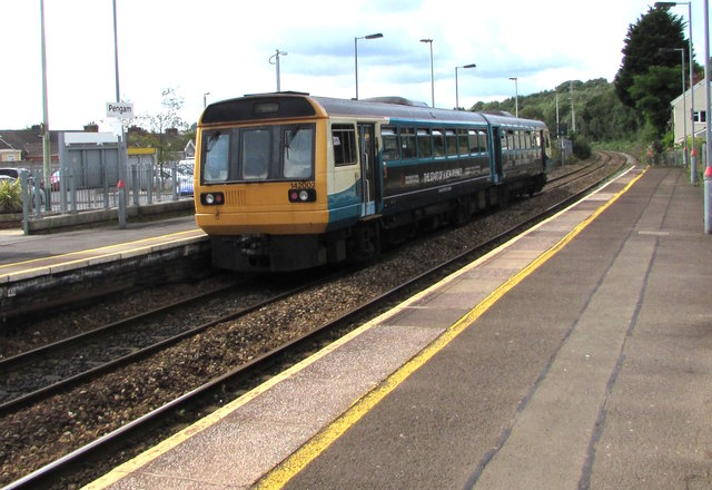Southbound train leaving Pengam station