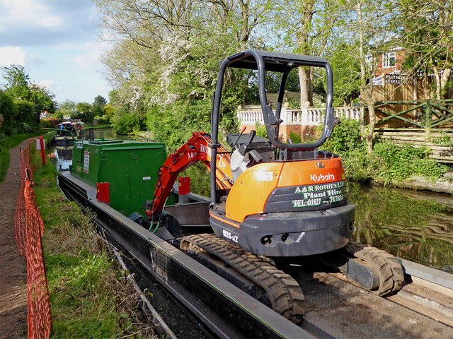 Canal maintenance in Penkridge, Staffordshire