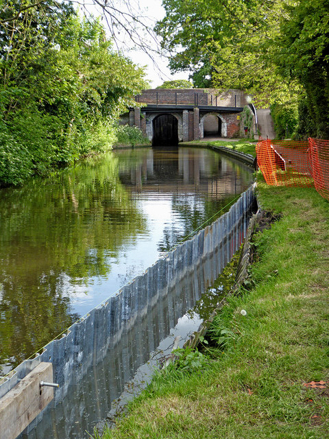 New towpath piling in Penkridge, Staffordshire