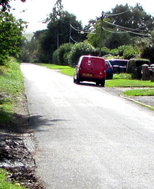 Red Royal Mail van, Green Drove near Pewsey