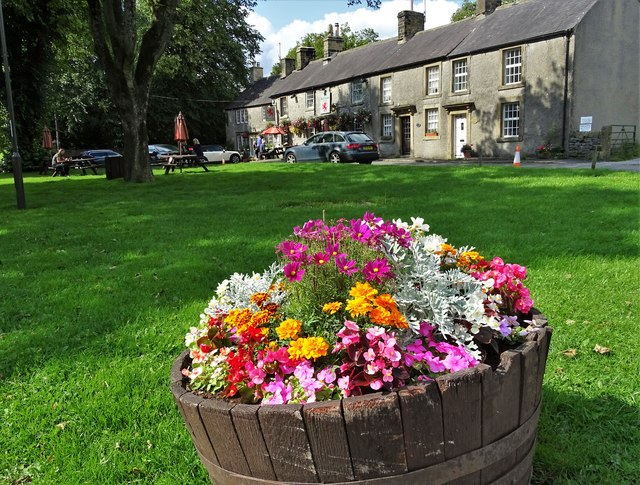A tub of summer flowers in Litton