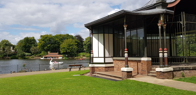 Hatherton Lake Boathouse Viewed from Bandstand