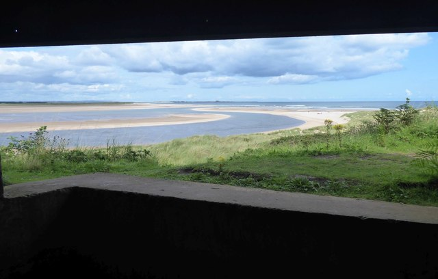 View out of WWII gun emplacement, Budle Bay