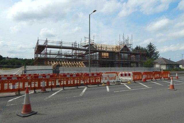 Construction alongside Hawkhead Road