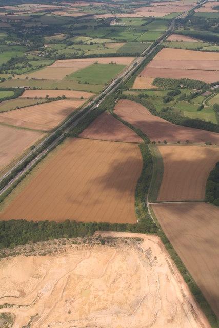 A417 Ermin Way and Daglingworth Quarry: aerial 2019