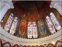 TQ1068 : St Mary, Sunbury-on-Thames: sanctuary windows by Basher Eyre