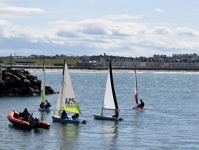 Sailing boats in Portrush Harbour