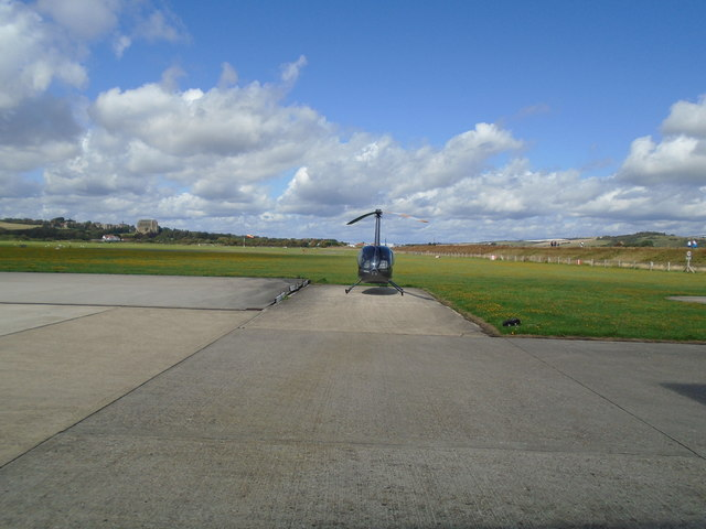 Robinson R44 helicopter at Shoreham Airport