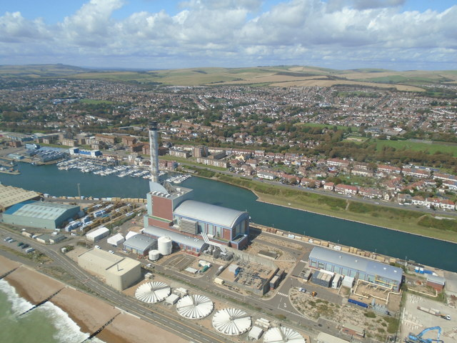 Shoreham Power Station from the air
