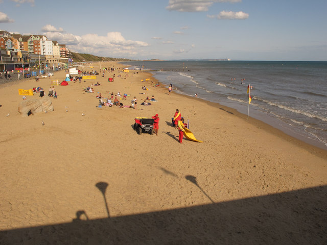 Boscombe beach with lifeguards
