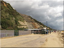 SZ0990 : Repairs in progress after fall of Bournemouth East Cliff by David Hawgood