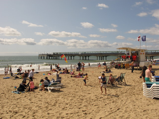 Holidaymakers on sandy Boscombe beach