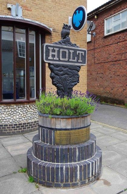 Holt town sign (1), outside 16 High Street, Holt, Norfolk