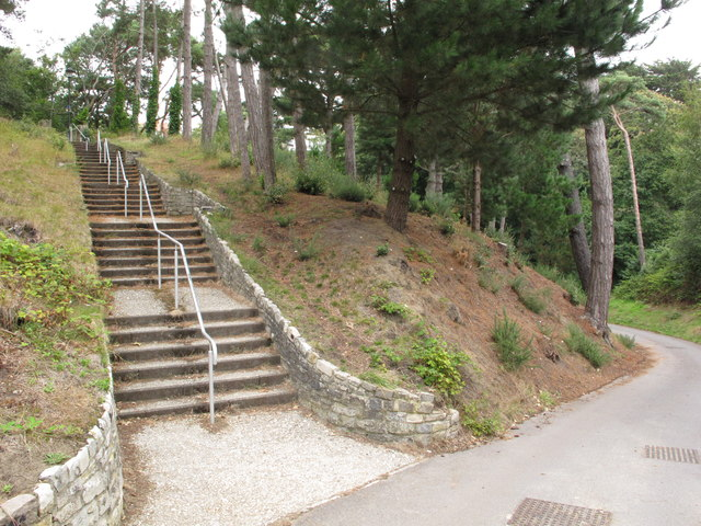 Boscombe Chine Gardens with trees, steps and path