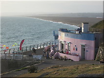 SY6873 : Chesil Cove and Chesil Beach by Peter S
