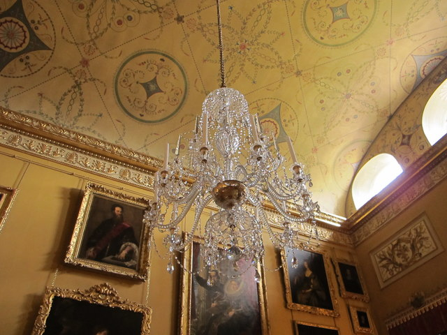 Kingston Lacy saloon, chandelier, ceiling, paintings