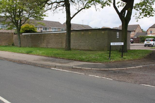 Garage block at Tay Close / Shire Road junction