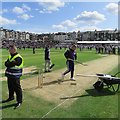 TA0389 : Scarborough Cricket Ground: working on the wicket by John Sutton