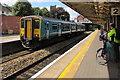 ST1586 : Rhymney train at platform 3, Caerphilly station by Jaggery