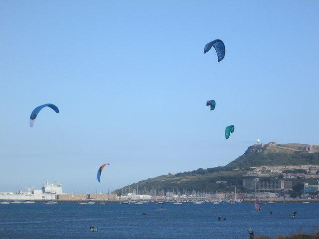 Kite skiers, Portland Harbour