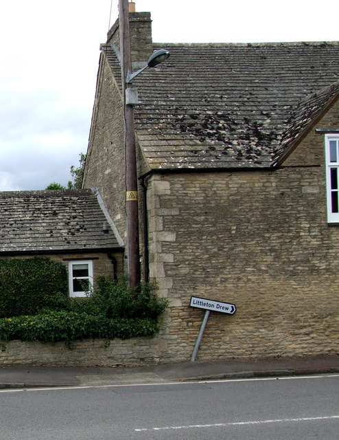 Wonky Littleton Drew direction sign in Acton Turville