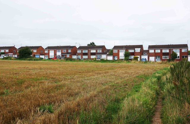 Houses in Marlborough Drive seen from the nearby public bridleway, Areley Kings, Stourport-on-Severn, Worcs