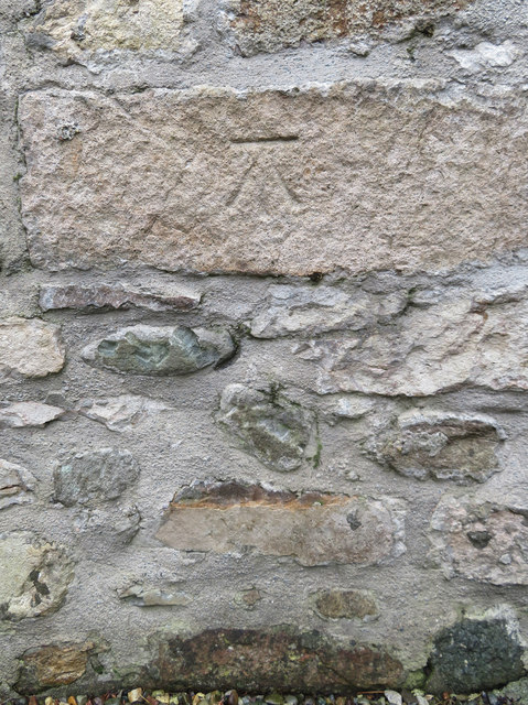 Bench mark on St Aelhaearn's church, Llanaelhaearn