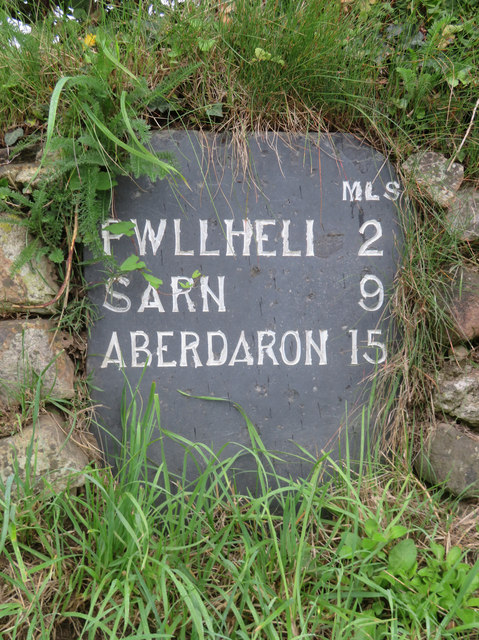 A slate milestone in Efailnewydd