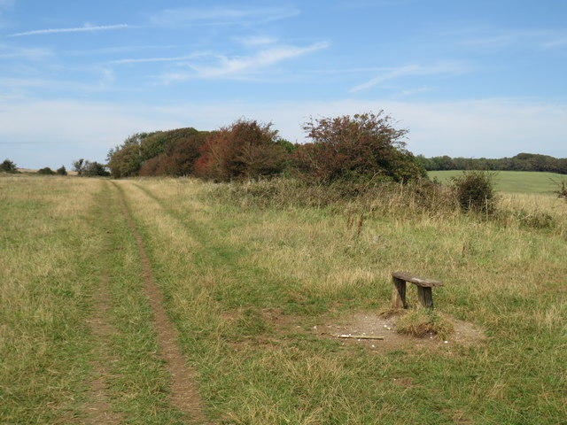 Path and seat on the South Downs near Brighton