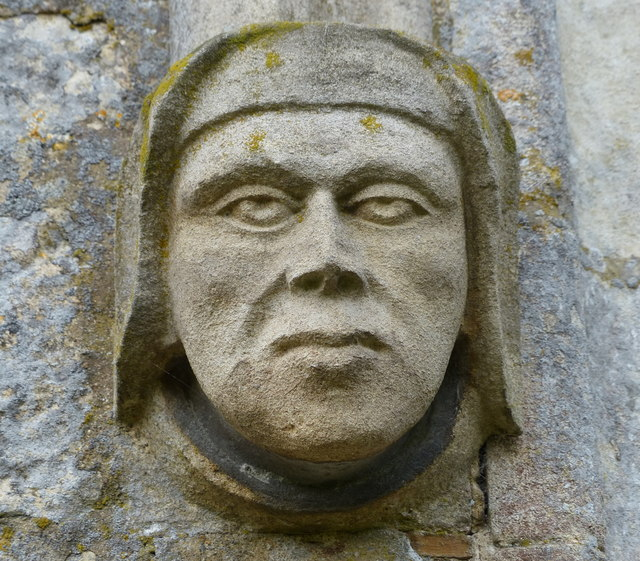 Stone head at the Church of St John the Baptist