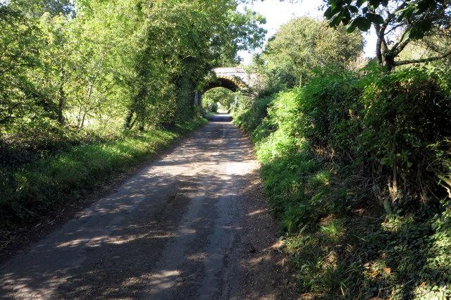 Brockhall Lane and disused railway bridge
