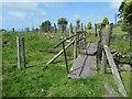 SH4956 : Slate footbridge near Bryngwyn station by Christine Johnstone