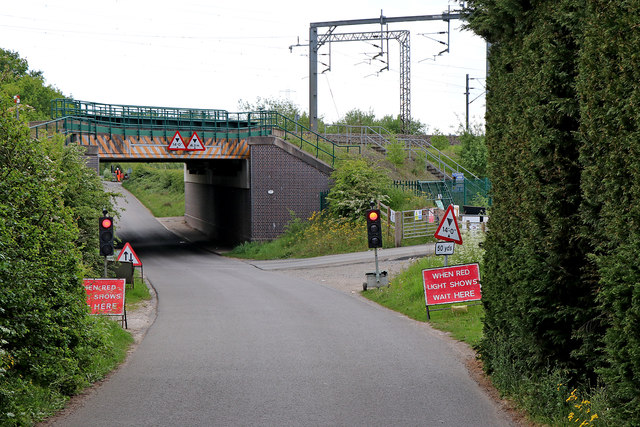 Railway bridge over Huddlesford Lane in Staffordshire