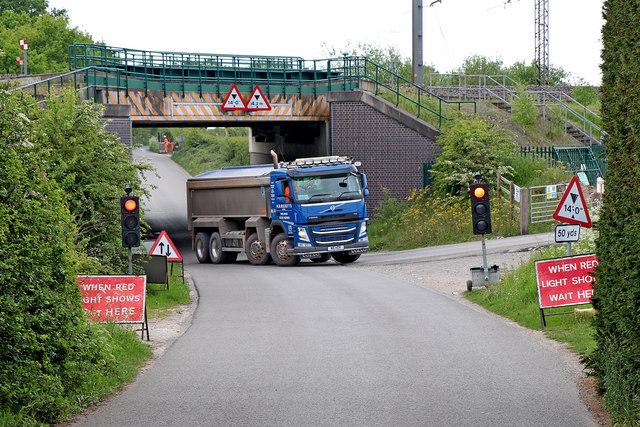 HS2 truck near Huddlesford in Staffordshire