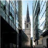 TQ3380 : The Spire of St Margaret Pattens from Plantation Place by Free Man
