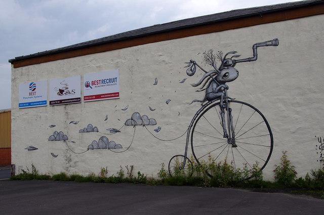 Mural on industrial building