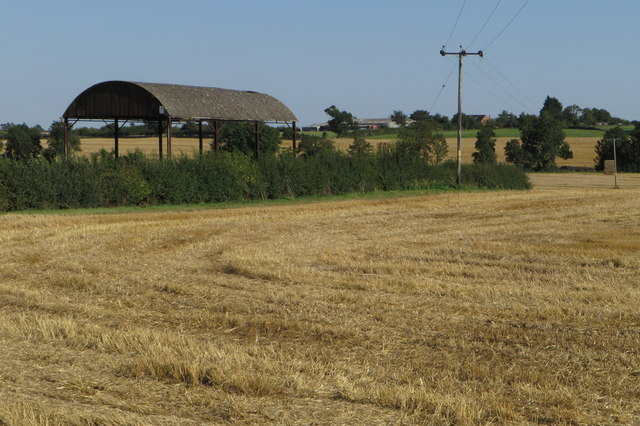 Hay barn and power lines