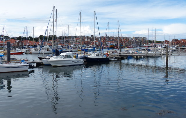 Boats moored along the River Esk in Whitby