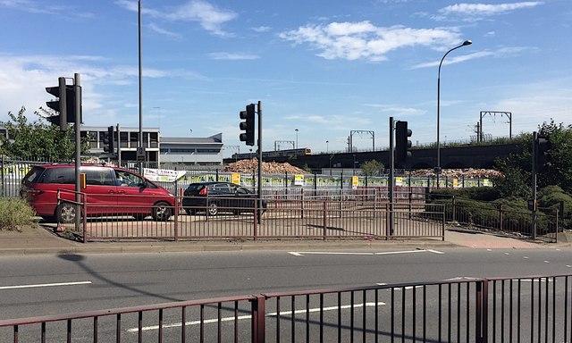 HS2 site – demolitions northeast of Lawley Middleway, Birmingham