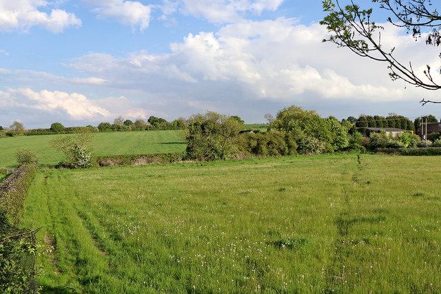 Farmland north-west of Whittington in Staffordshire