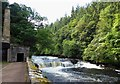 NS8842 : New Lanark Mills - Falls of Clyde past the Retort House by Rob Farrow