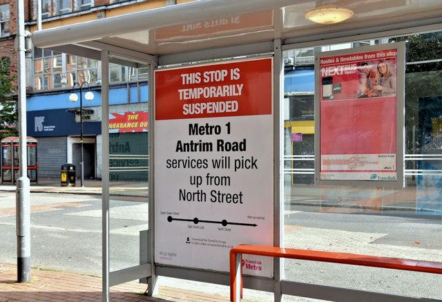 Suspended bus stop, Royal Avenue, Belfast (September 2019)