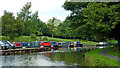 SK0083 : Canal and moorings at Furness Vale in Derbyshire by Roger  Kidd