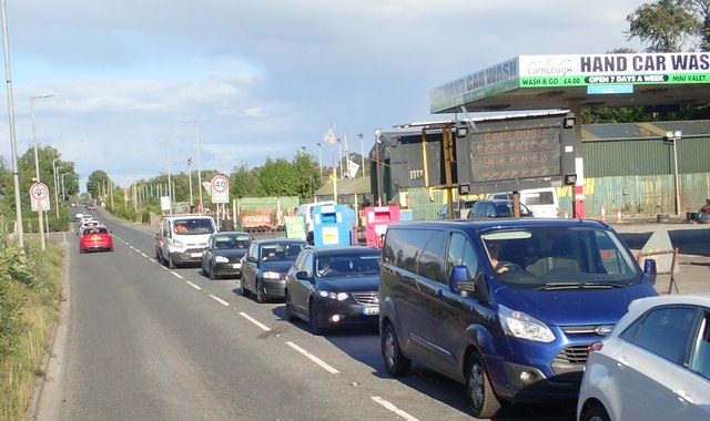 Traffic on the A25 at Camlough