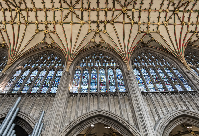 Clerestory windows and vaulting, St Mary Redcliffe church, Bristol