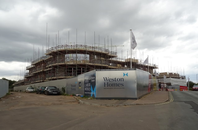 New homes under construction on Station Hill, Bury St Edmunds