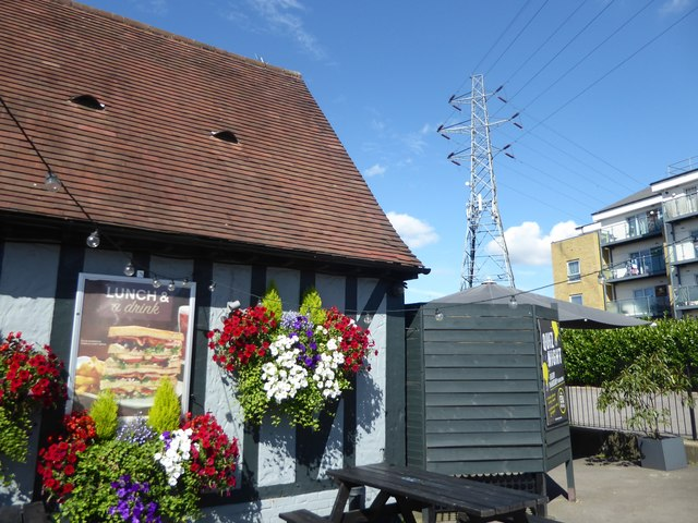 Hanging baskets and a pylon